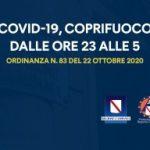 COVID-19, ORDINANZA n.83 DEL 22 OTTOBRE: STOP ATTIVITÀ DALLE 23 ALLE 5 DEL MATTINO